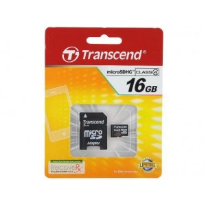 TRANSCEND Micro SDHC Class 4 -  16GB [With Adapter]