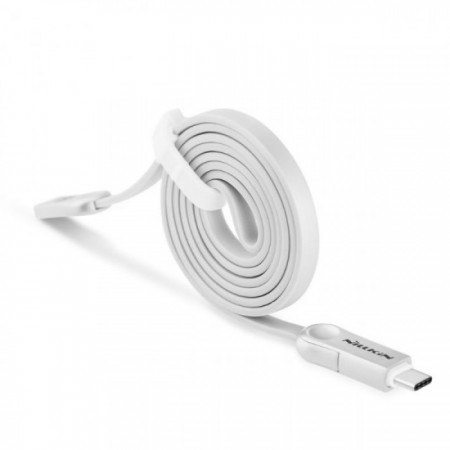 NILLKIN Dual Sync and Charge Cable Micro USB Plus 3 USB Type C - White