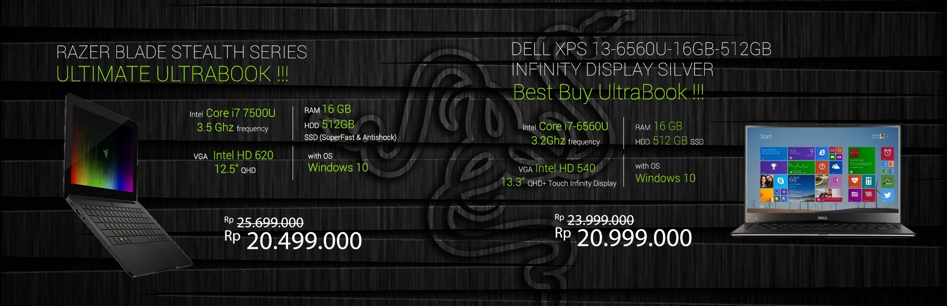 RAZER Blade Stealth Series - Limited Edition - DELL XPS 13-6560U-16GB-512GB Infinity Display Silver