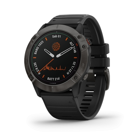 GARMIN Fenix 6X Pro Carbon Gray DLC w/ Black Band