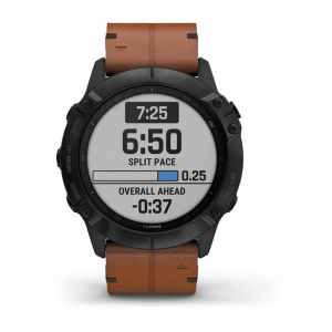 GARMIN Fenix 6X Pro Black DLC w/ Brown Leather Band