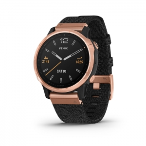 GARMIN Fenix 6S Pro - Rose Gold w/ Heathered Black Nylon Band